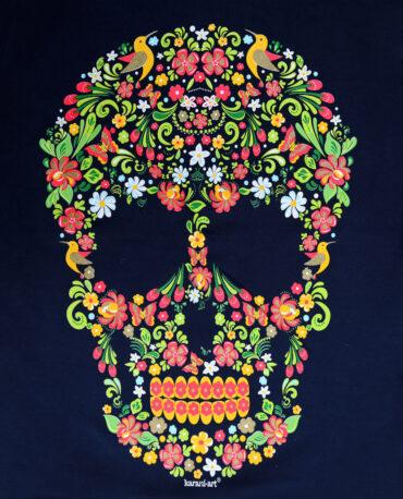 Playera-mujer-marino-calavera-floral-detalle