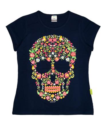 Playera-mujer-marino-calavera-floral
