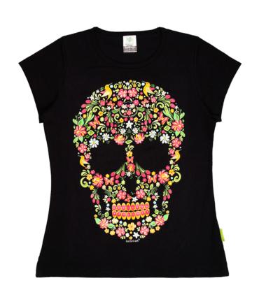 Playera-mujer-negro-calavera-floral
