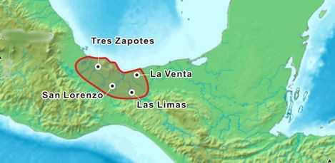 mapa de la cultura olmeca