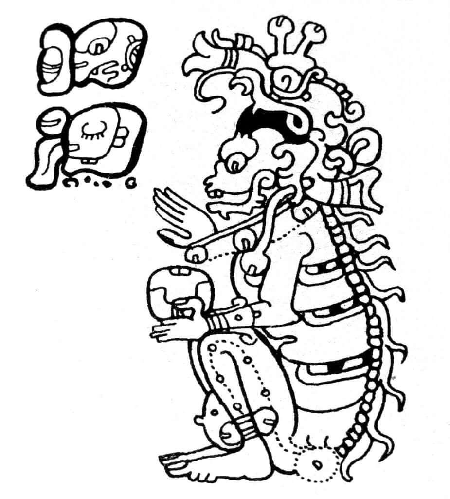 ilustración del dios maya yum kimil